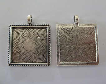 10 x Antique Silver SQUARE cameo style 1 inch pendant trays