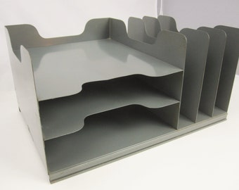A Grey Metal Desk Organizer With Three Vertical and Three Horizontal Slots - Skidproof Bottom - Strong - Desk Organizer - Handy
