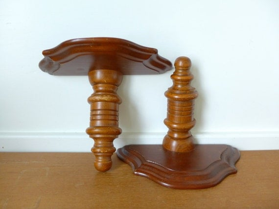 Large turned wood wall shelves wall sconces