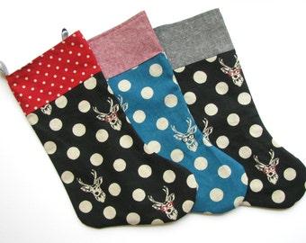 sale- buck and dots christmas stocking linen fabric