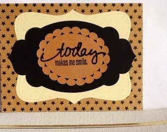 Hand made greeting cards: today makes me smile - Birthday Cards - Kraft card stock - Handmade card by Wcards