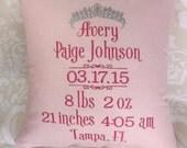 Birth Announcement Pillow, Baby Pillow, Birth Pillow