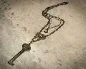 Vintage Assemblage Art Deco Necklace with Vintage Key, Vintage Crystals & Vintage Filigree
