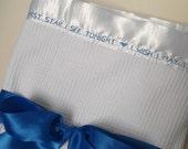 Baby Blanket Birth Announcement White Thermal Modern Shower Gift Crib Bedding Stroller Monogrammed Keepsake Newborn Infant Baptism Photo