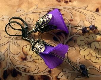Purple Calla Flower Earrings, Dangle Earrings, Handmade Earrings