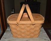 Wood Sewing Basket ,lid handles and liner Oak wood
