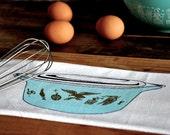 Tea Towel: Vintage Pyrex Early American Flour Sack Tea Towel, Blue Turquoise and Gold