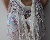 Lace and chiffon scarf floral chiffon fashion accessories gift for her