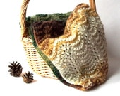 SALE - 30%OFF. Knit Lacy Infinity Scarf. Knitted Green, Brown and White Neck Warmer. Fashion Accessory.