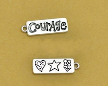 5/10/20/50 Courage Charm Antique Silver Tone 2 Side - SC2716