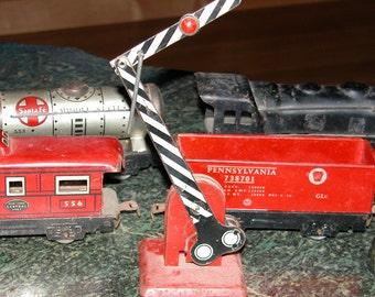 Retro Marx Train Set Lithograph Tin TRAIN Set w Engine & Caboose Crossing