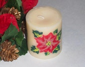 SALE: Holiday decor, hand painted candle, red poinsettia candle, Christmas gift candle, Vanilla scented candle, ivory candle