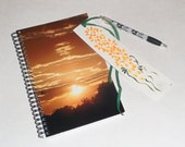 Sunset Spiral notebook gift set; spiral journal; diary; dream journal; spiral bound notebook; travel journal; free shipping USA