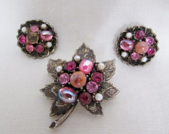 Vintage Silver Tone Brooch Earring Set - 1980s Beaded Rhinestone Bunch Clip On Leaf Pin