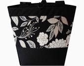 Jayna Bags Large Roomy Multi Pocket 18w 14h 7.5d Women's EBONY MUM Edge Shoulder/Handbag/Purse/Tote (Black, White)