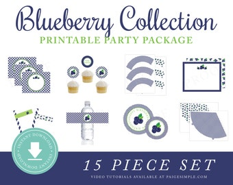 INSTANT DOWNLOAD Blueberry Printable Party Package (Blueberry Birthday, Blueberry Party Instant Download, Blueberry Party Decorations)