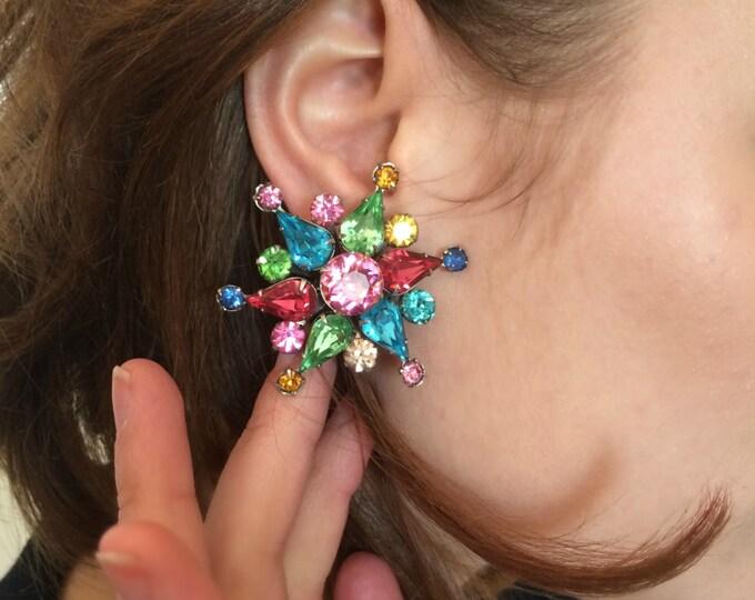 Vintage Rhinestone Starburst Clip On Earrings