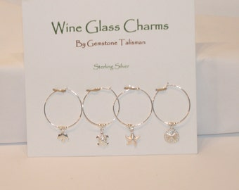 Wine Glass Charms in Beautiful Sterling Silver - Perfect Hostess Gift
