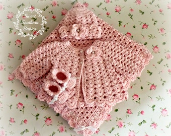 Pink Baby Gift Set - Sweater/blanket/Booties/Hat - Baptism, Christening, Blessing - Coming Home Set - Ready to Ship