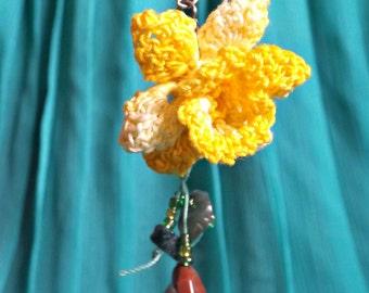 Crochet Lace Daffodil Earrings
