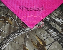 Baby Girl Blanket, Real Tree Camo and HOT PINK Minky, Personalized Minky Blanket