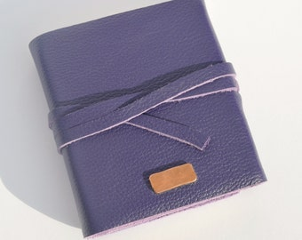 Purple Leather Journal Handmade to Order Bound Copper Notebook Lady's Diary (394D)