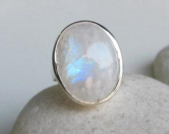 Rainbow Moonstone Statement Ring- June Birthstone Ring- Large Oval Moonstone Ring- Bold Gemstone Ring- Bohemian Gypsy Silver Ring