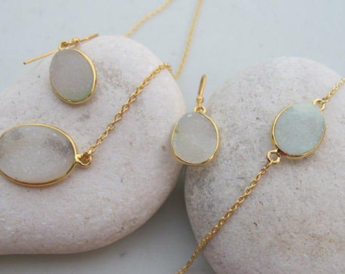 Oval Druzy Jewelry Set- Bracelet Earring Necklace Druzy Set- Black White Blue Pink Druzy Set- Simple Sparkly Gemstone Jewelry Set