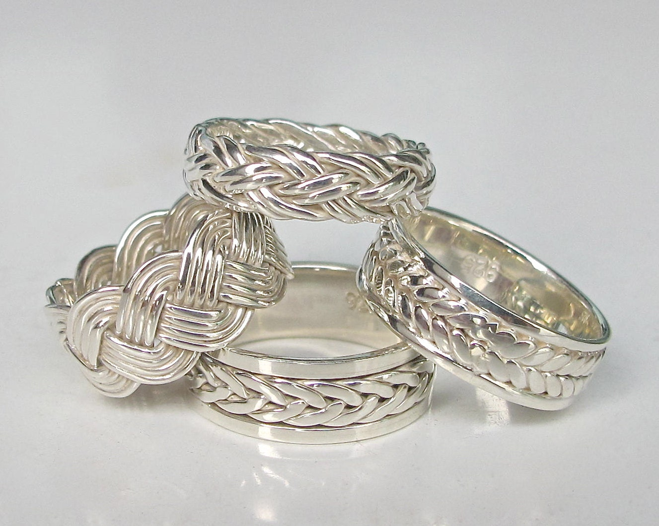 silver woven band ring
