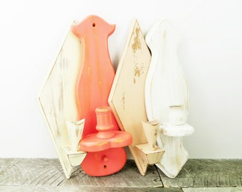 Shabby Chic Candle Sconces - Coral Peach White - 4 - Soft Colours