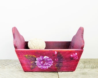 Shabby Chic Box - Burgundy Marsala - Distressed Upcycled - Storage Organization