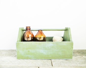 Rustic Caddy - Upcycled - Sage Green - Chic Storage Solution