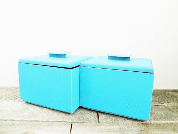 SALE - Vintage Storage Box - 2- Aqua Blue - Tea Box - Shabby Chic Distressed
