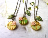 Flower Girl Personalized Jewelry, Girl necklace, Necklace Trio for little Girls, colorful Jewelry, Custom letter girls, Sisters necklaces