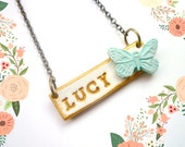 Girl Name Necklace, Personalized Butterfly jewelry, flowergirl gift, custom name plate, name jewelry, little girl necklace, daughter, niece