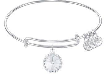 Expandable Wire Bangle Bracelet with April Birthstone Charm Genuine Swarosvki Crystal