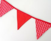 Red fabric bunting, ducks banner, Westfalenstoffe fabric bunting