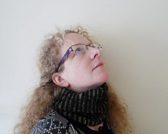 knitted cowl, alpaca bamboo neck warmer, green black stripey cowl,