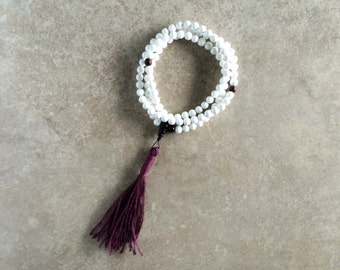 Conch Shell Mala with Rosewood & Burgundy Tassel