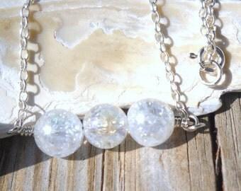 925 Sterling Silver AB Quartz Pendant Necklace