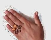 Ombre Brown Flower ring ,Boho Crochet Flower Ring, Adjustable Ring, Crochet  ring, Turkish Needlework Jewelry, Costume Jewelry