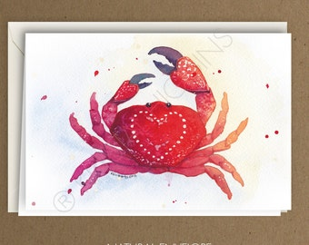 Crab Nautical Hearts Greeting Card - Blank Inside - Valentine's Day / Love / Thank You