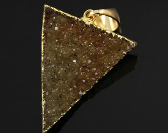 Large Druzy Triangle Pendant in Stunning Earth Tones, Heavy Gold Plated, 27x33mm, A+ Gorgeous Quality, Electroplated Edge (DZY/TRI/110)