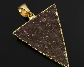 Large Druzy Triangle Pendant in Stunning Earth Tones, Heavy Gold Plated, 29x34mm, A+ Gorgeous Quality, Electroplated Edge (DZY/TRI/115)