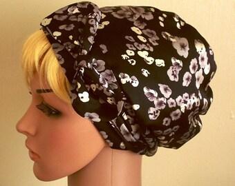 Silky Tichel, Black and Grey Women's Satin Head Scarf , Retro Style Headscarf, Elegant Hair Snood, Satin Bandana, Natural Hair Scarf