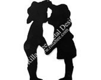 Cowboy and Cowgirl Kissing Metal Sign