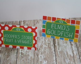 Sesame Street Inspired Food Tents, Sesame Street Inspired Birthday Food Labels