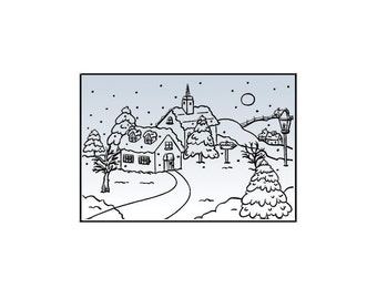 SNOWY VILLAGE #1 by NELLIEs CHOiCE - EMBOSSING Folder A2  for Christmas - Rare Item !