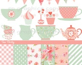 Shabby Chic Tea Party - digital clipart for cards, photography, scrapbooking, invites, general craft work