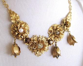 Vintage Brass Flower Mix Statement Necklace